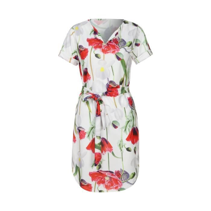 imprimé populaire V maxi col ceinture robe avec Deessesale®Femmes Rouge manches courtes FJH80111331RD Aq4ppI