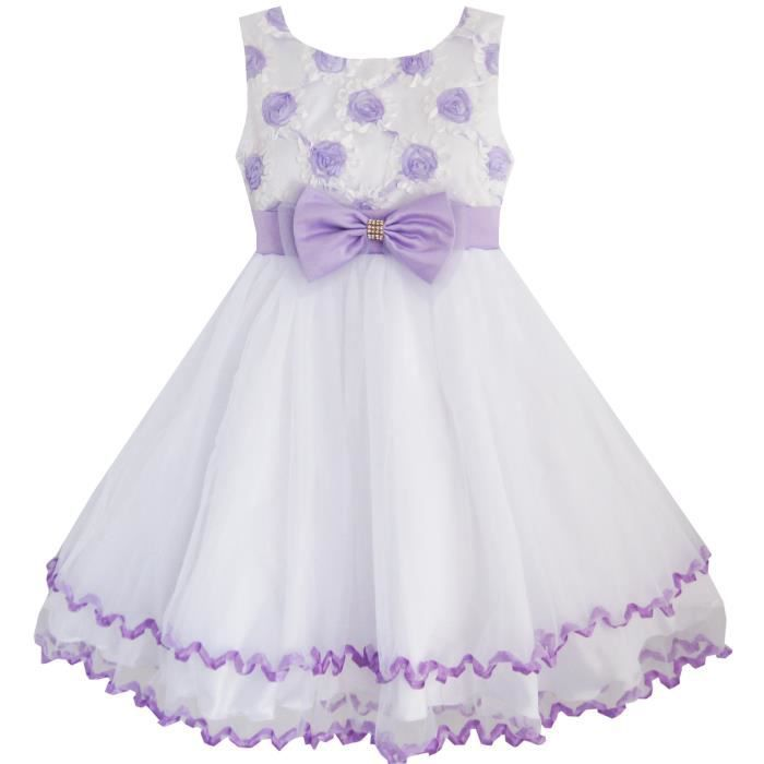 Robe Fille Pourpre Fleur Blanc Tulle Plissé Mariage Partie 2-10 ans