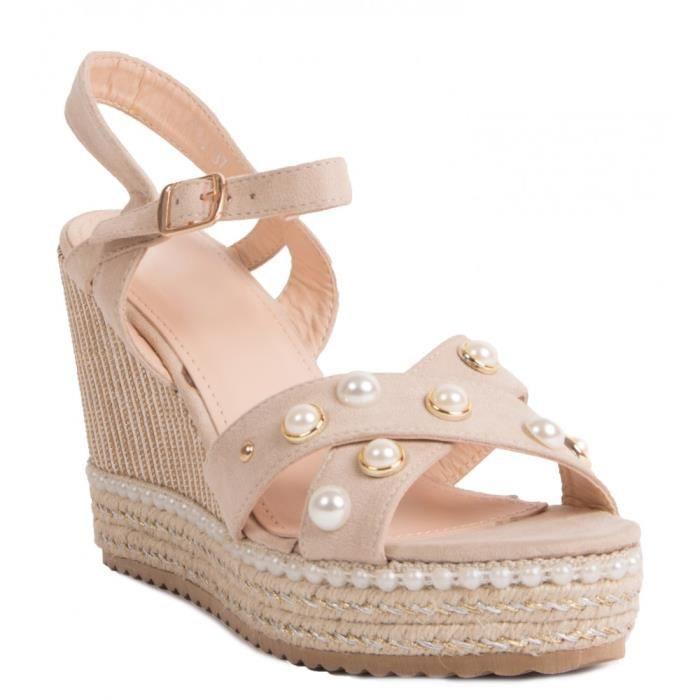 Sandales à talon compensé avec perles et corde bride en suédine-36