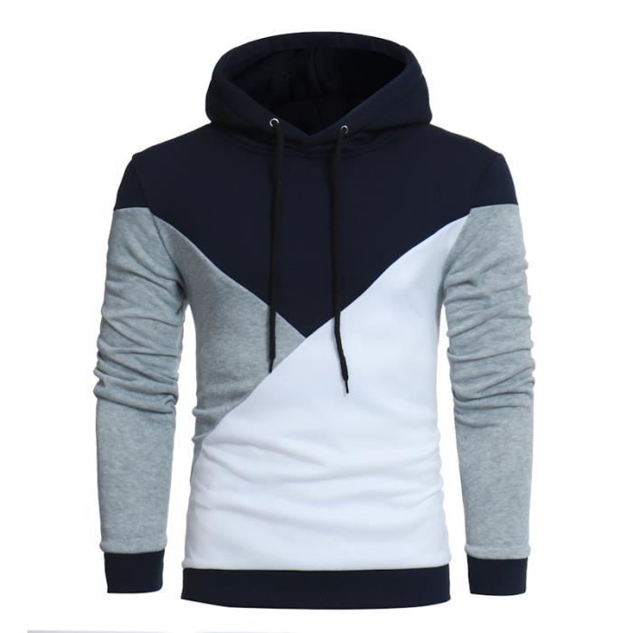 ee1a31a1a1587 Pull Hommes A Capuche Colorblock Manches Longues Casual Slim Marine ...
