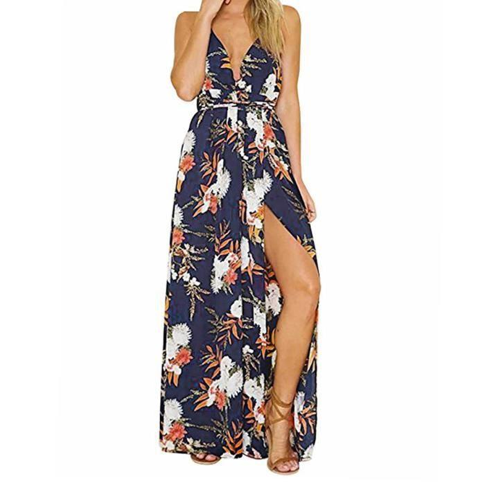 bleu Partie Sundress Fleur De Soirée Sexy Manches Robe Longue Plage Femmes fqw44v