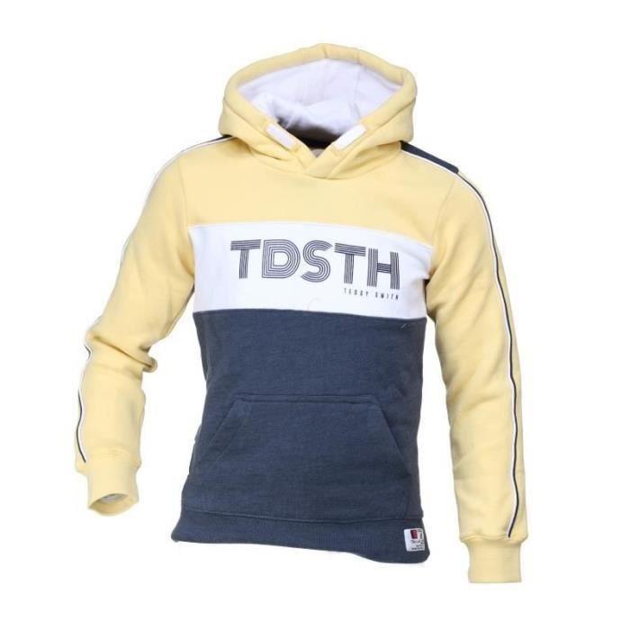 prix incroyable emballage élégant et robuste vente pas cher Sweat à capuche jaune/bleu garçon Teddy Smith