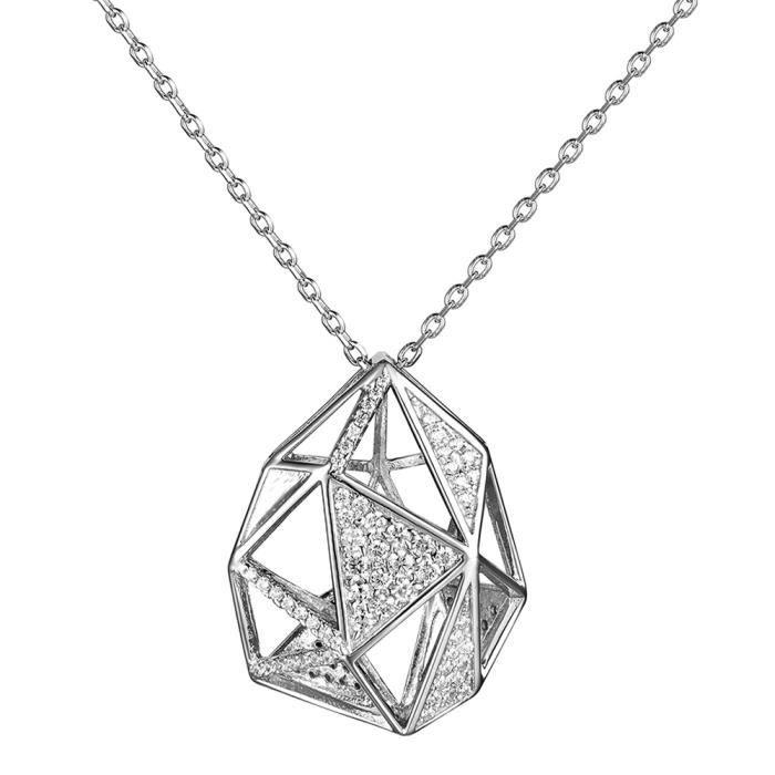 JURE Mode S925 Collier en argent sterling avec Géométrique Pententif Pour Femmes