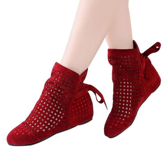 Flat Wedges Rouge Cutout Casual 7795 Cute Ankle Shoes Booties Low Hidden Boots xz Femmes kOPN8wXn0