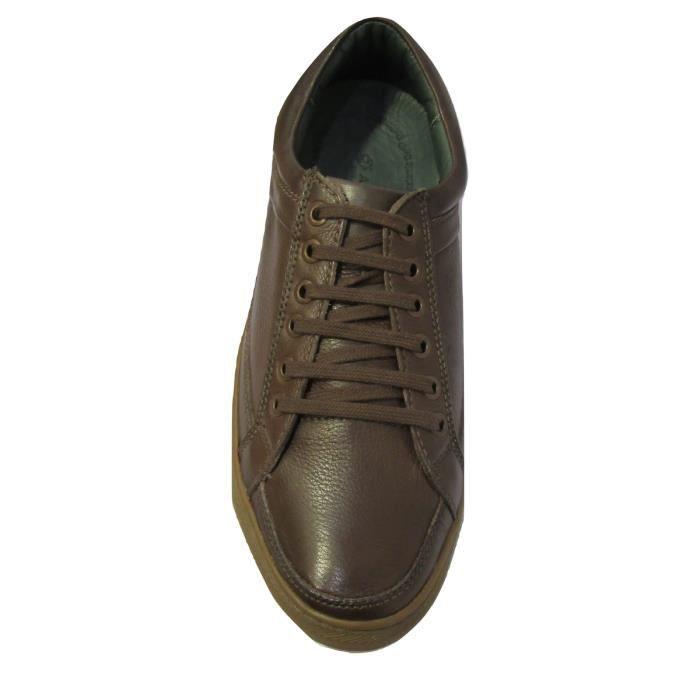 Baskets basses ville cuir marron homme ANATOMIC confort