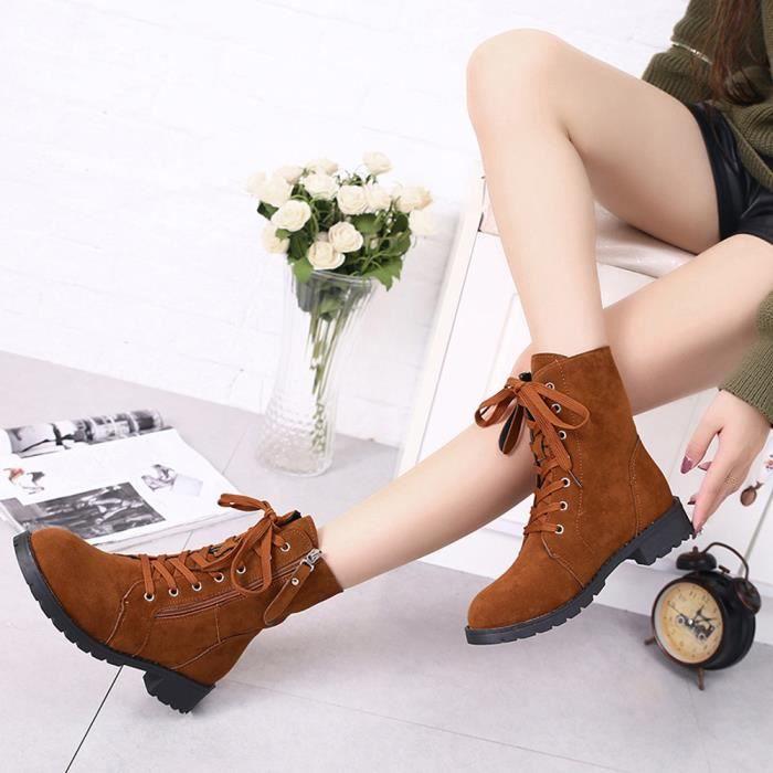 browm Cuir En Courtes Chaussures Femmes Bottes Chaussures Daim Zip Peluche Cheville Souple tpxPqCT