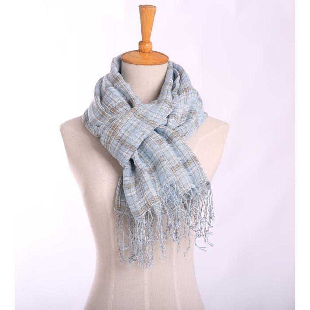 économiser jusqu'à 60% dernière remise nouvelles photos Écharpe laine foulard femme hiver en tricot maille doublée 70*180CM avec  lacet carreau élastique doux et confortable ---bleu