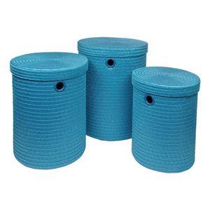 Lot de 3 Paniers  linge - 18 x 29 x 45 cm - Bleu