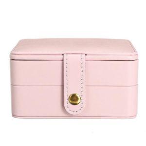 Boîte de Rangement Bijoux Cuir Avec Miroir 3 Couches Portable ROSE