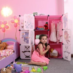 ARMOIRE DE CHAMBRE Armoire Penderie Plastique Enfants Rose, 9 Cubes A