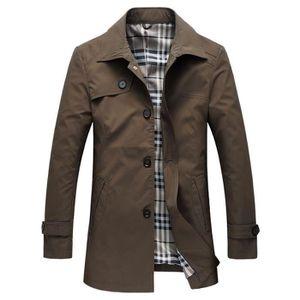 19d78e61f3c6 Imperméable - Trench Trench Coat Homme Coupe Slim Casual Veste Mi-longu