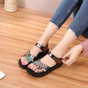 SANDALE - NU-PIEDS Femmes Femmes d'été mode Chaussures Wedges Cuir Co