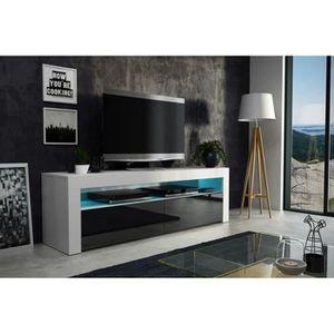 MEUBLE TV Meuble tv  157 cm blanc mat et façade noir laquée