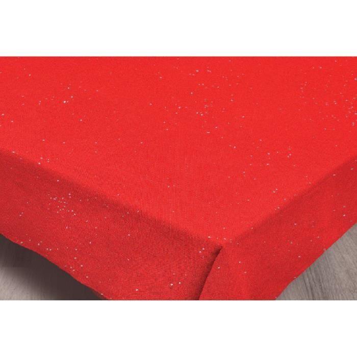 Nappe STRASS - 140 x 240cm - 100% Polyester - Traitement déperlant imperméable - Rouge - Lavable à 30°NAPPE DE TABLE