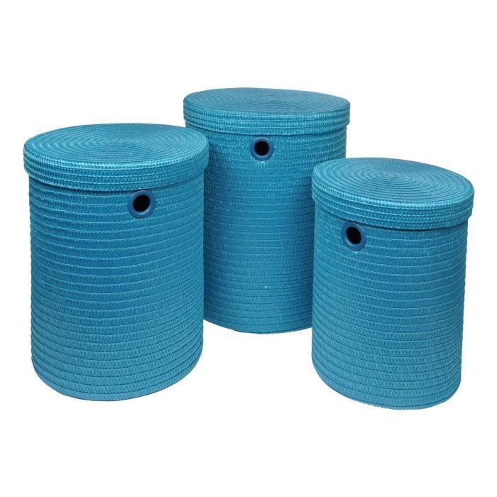 Lot de 3 paniers à linge 18x29x45 cm Bleu