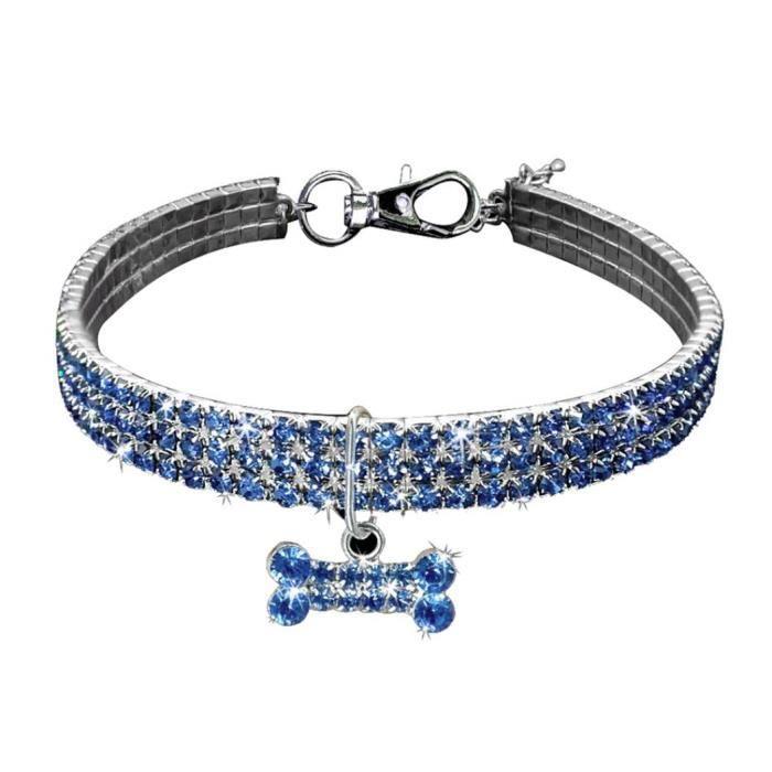 Brillant Multi Rangées Strass Os Pendentif Chiot Collier De Chien Pet Supply Blue S