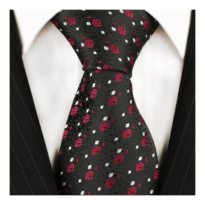 0acc782c18efb CRAVATE - NŒUD PAPILLON Tns cravate noire avec un motif de roses rouges -