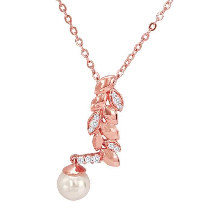 Shimmer Feuille Cz Femmes plaqué or rose Pendentif pour Ps1193675z PTPPV