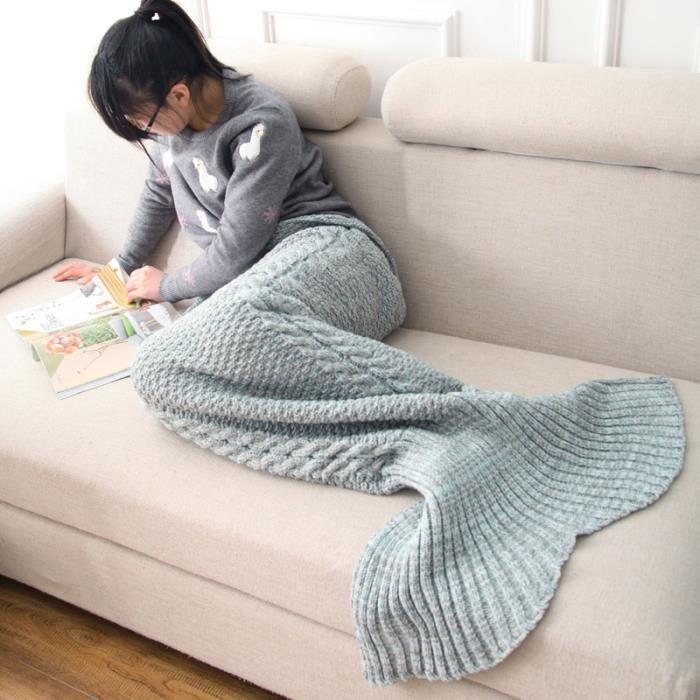 couverture creative tricot queue de sir ne pour enfant achat vente couverture plaid. Black Bedroom Furniture Sets. Home Design Ideas