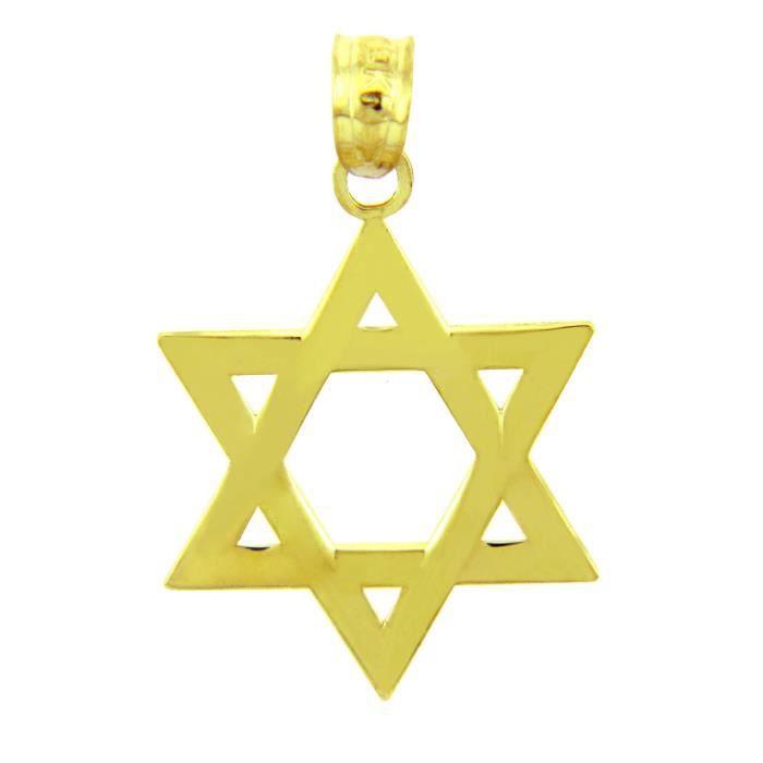 Collier Pendentif10 ct 471/1000 Juif Charms et s- Étoile de David Poli or Collier PendentifJaune (vient avec une Chaîne de 45 cm)