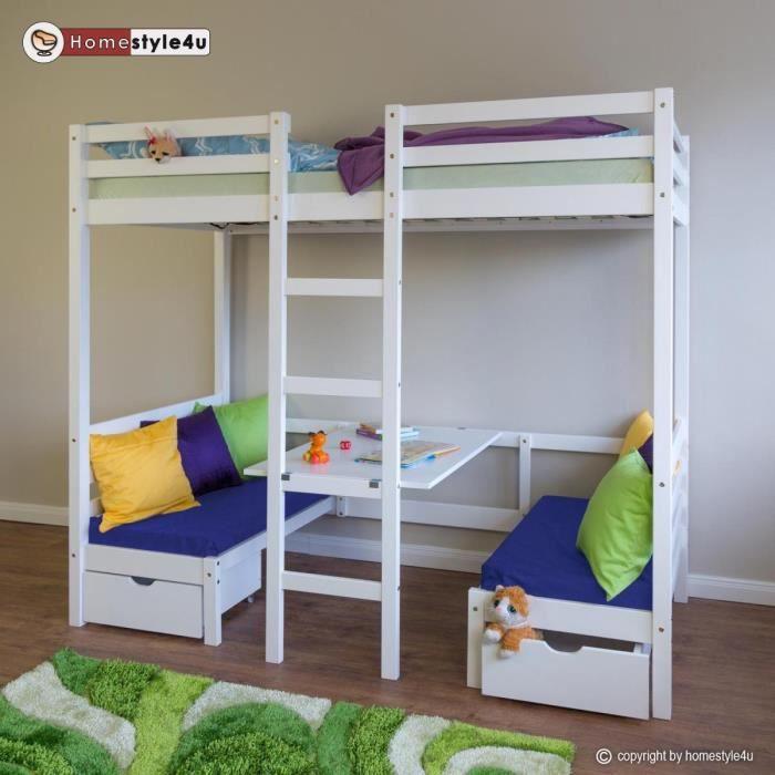Lit enfant mezzanine superpos blanc 90x200 pin massif bureau avec coussins bleue achat - Bureau enfant pin massif ...