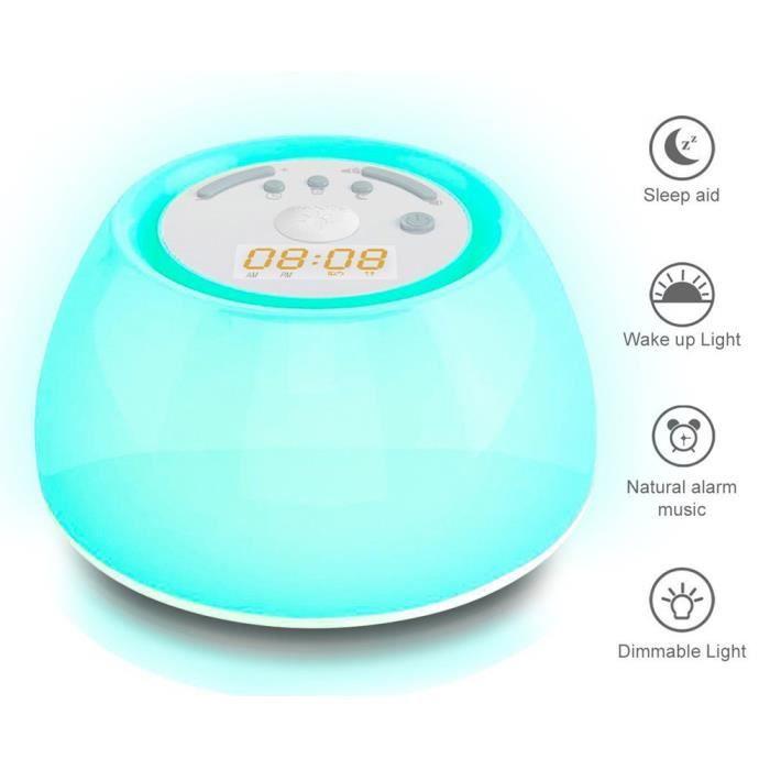 Réveil Lumineux Lampe De Chevet Veilleuse Led Avec Horloge Alarme Lumière Et Sommeil À Simulation 4 Sons La Nature