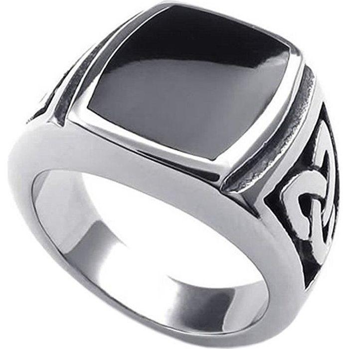 1b0054694b18 Bijoux Bague Homme - Noeud Celtique Chevalière - Acier Inoxydable - Anneaux  - Fantaisie - pour Homme - Couleur Noir Argent