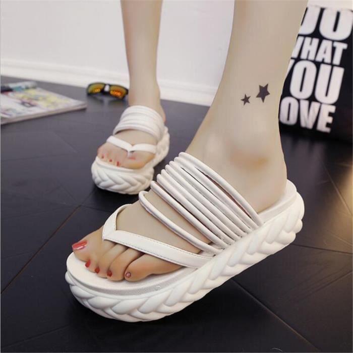 Femme sandales d'été Tongs plates Chaussures de Plage ®KIANII Noir clk7BwYO3f