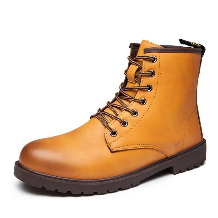 Minetom Automne Hiver Angleterre Cuir Chaussures Martin Bottes de Pluie Imperméable pour homme Lace Up Bottes de Moto