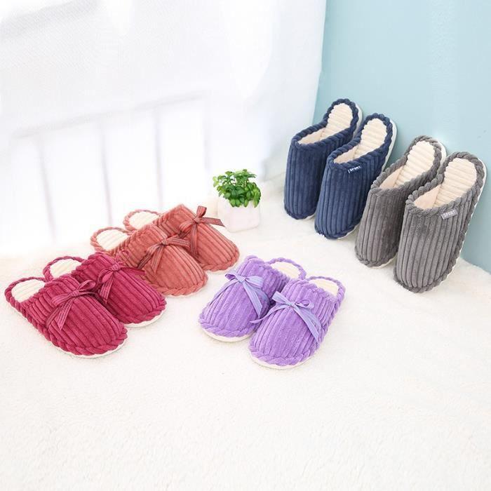 New Noeud Femmes Chaussons chaud Mode antidérapants Automne souple Printemps papillon Corduroy Chaussons Chaussures Pantoufles HHqrg