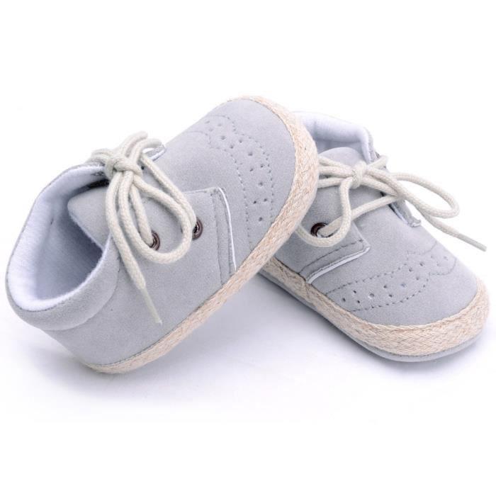 BOTTE Nouveau-né Infantile Bébé Filles Garçons Crib Chaussures Doux Semelle Anti-slip Sneakers Chaussures@GrisHM