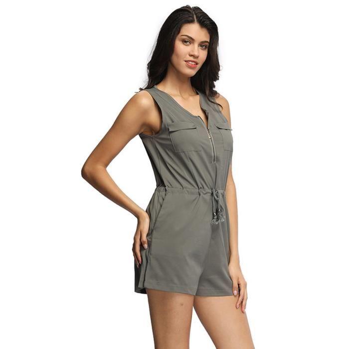 Sans Clubwear Pocket Zipper Combishort Combinaison Mode Verte armée Parti Manches Femmes PuOkiXZ