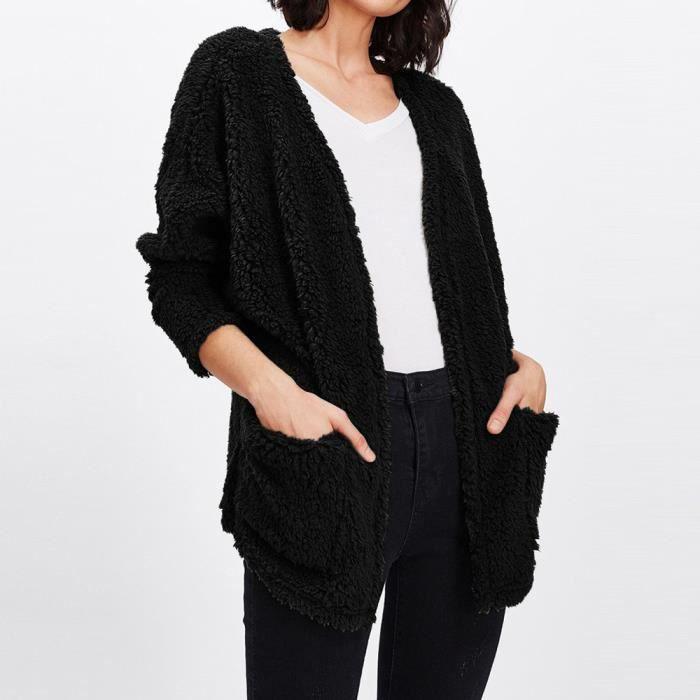 Cou Manteau Outwear Femmes co V De Peluche Manches Longues 554 Fourrure Casual Cardigan En CeQdBExoWr