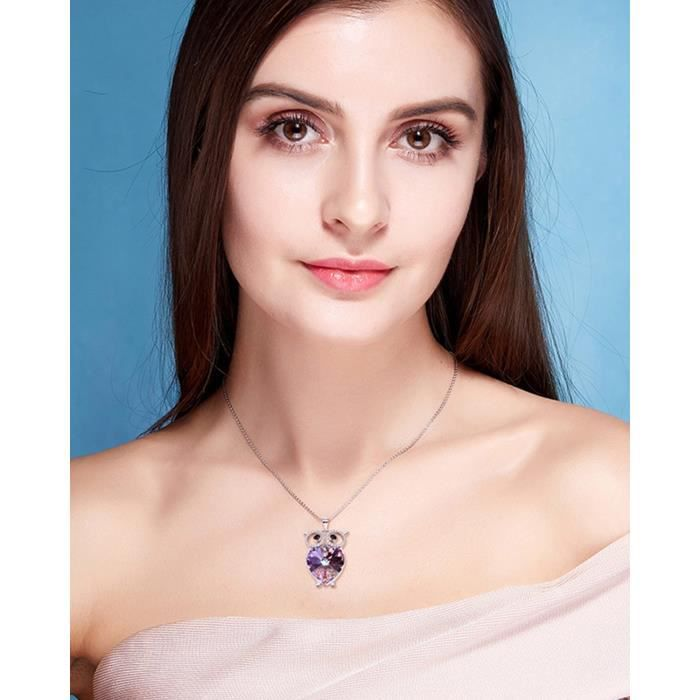 Womens Valentine Gifts Special Timeless Treasure owl Of Minerva Purple Heart Crystals From Swaro PORH5