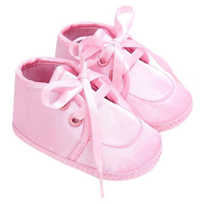 BOTTE Chaussures bébé garçon fille nouveau-né crèche chaussures à semelle souple@Rose