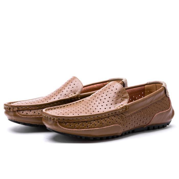 Chaussure Homme Nouvelle Mode Qualité Supérieure En Cuir Respirant Souple Appartements Chaussures occasionnelles Mocassins Mâle 6BvMWh2C