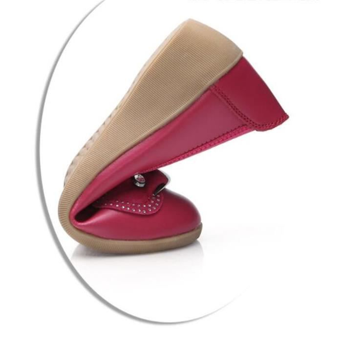 Chaussures Femme Cuir Casual Comfortable Chaussure DTG-XZ047Rouge36