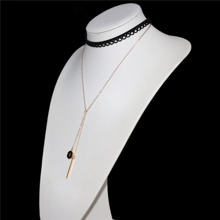 Lettre Gold Bar Femmes Pendentif en dentelle noire creux Choker double couche Chaîne Sautoirs Y Collier ZYSBJ