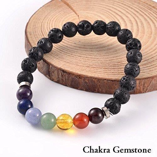 Womens 2 For 1 Lava Rock Bead Essential Oil Diffuser 7 Chakra Healing Bracelet Gemstone Tigers Eye DF2YV