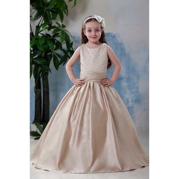 Robes de Cérémonie Mariage Princesse Fête Fille Enfant Longue Perlé Avec Ceinture Sans Manches Champagne