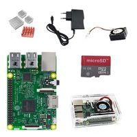 Raspberry Pi 3 Model B, 1GB RAM, WLAN, BT+Carte microSD 16Go +Boîtier+5v/2.5 Adaptateur +Dissipateur de chaleur+Ventilateur