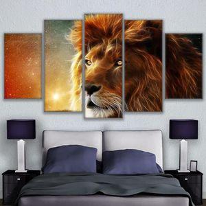 TABLEAU - TOILE Toiles imprimées 5 pieces Mystic Lion abstrait ani