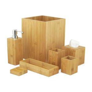 Ideko Set D Accessoires En Bambou Pour Salle De Bain 4 Pieces