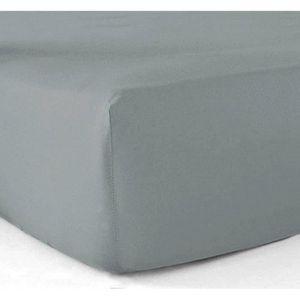 DRAP HOUSSE Drap housse 140x190 cm - pur coton 57 fils - gris