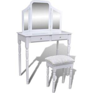 COIFFEUSE Coiffeuse avec miroir et tabouret Table de Maquill