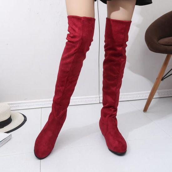 a445f2142359c Long D hiver Spentoper Bottes rouge Plates Cavalières Automne Femmes Suede  Court 7f1qSaw4x