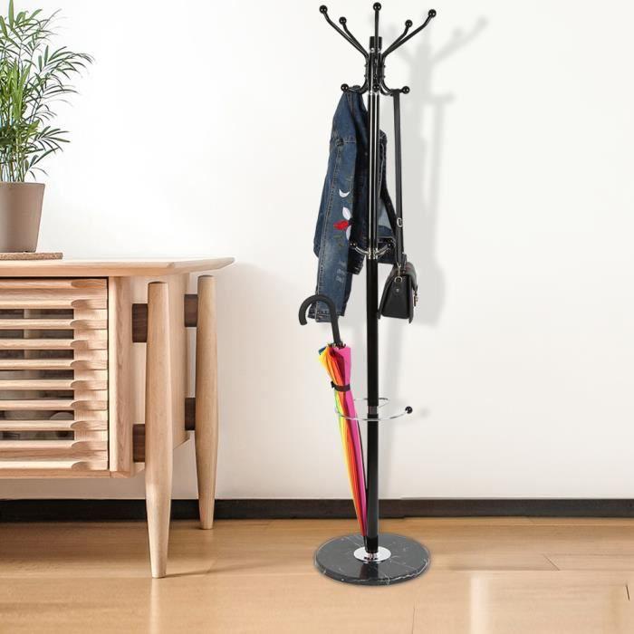 Porte Manteaux Noir Avec Support Parapluie Socle En Marbre 170cm