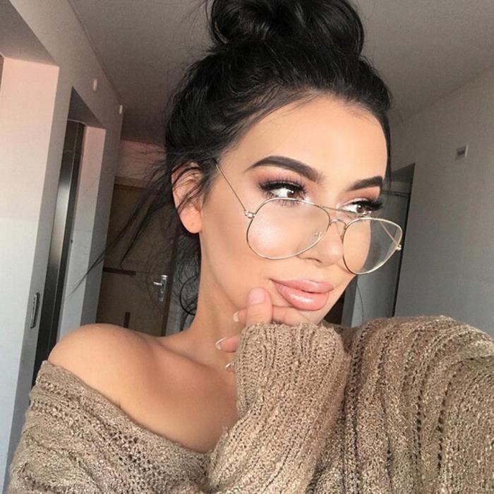 6dac6b629372d6 ommes Femmes verres transparents lunettes métalliques lunettes monture de  lunettes noires lunettes