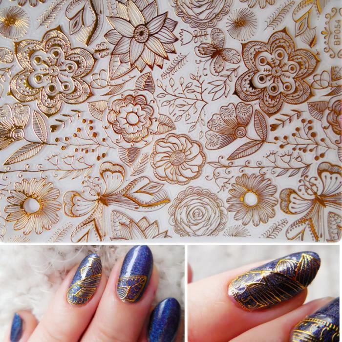 1 planche stickers 3d fleurs rose epanouis ongles autocollants