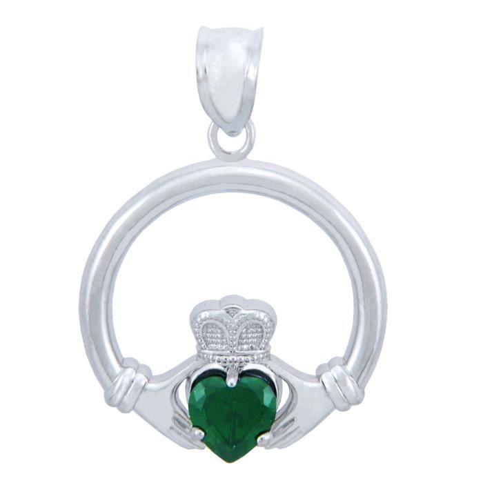 Collier PendentifArgent 925/1000 Claddagh Emerald Oxyde de Zirconium de Collier PendentifCoeur (M) (Livré Avec A 45 cm Chain)
